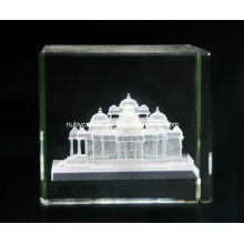 2 Inch 3D Internally Laser Engraving Akshardham Temple in Crystal for Hinduism (R3014)