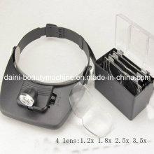 Manos libres Head Diadema Casco Lupa Gafas Lupa Lupa con 2 luces LED y 4 lentes
