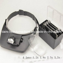 Hands Free Head Headband Helmet Magnifier Glasses Loupe Head Magnifier with 2 LED Lights and 4 Lens