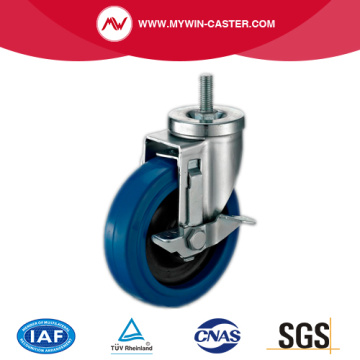 Side-Braked Threaded Stem Swivel Elastic Rubber Caster