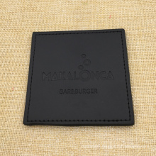 Custom Logo Black PU Genuine Leather Mug Bar Placemat Coaster