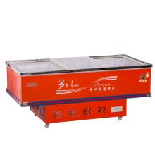 728L Porta deslizante Flat Cabinet Island Freezer para Supermercado