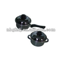 Emaille-Kochgeschirr-Sets mit Bakelit-Griff und Metalldeckel