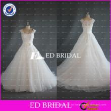 ЭД Свадебные элегантный Cap рукавом кружева лиф бальное платье реальные органза свадебные платья