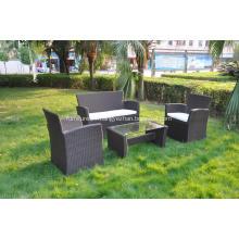 4 pcs brown color sofa aluminum rattan furniture