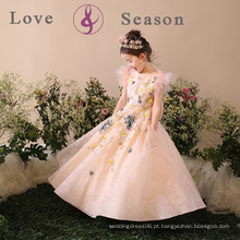 XXLF204 vestido de meninas de vestido simples vestidos de criança festa de festa vestido de noiva