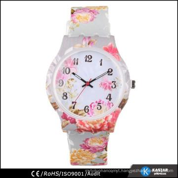 silicone strap pinting geneva flower watch ladies