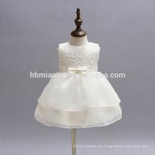 Los bebés sin mangas del cordón blanco florecen los vestidos de fiesta del bebé 0-24M del niño
