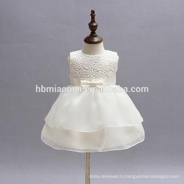 Белый кружева рукавов партия цветок девочки платья 0-24 м малышей младенческой платье