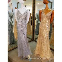 LS60604 Cristal dourado muito brilhante, vestido casual pesado para senhoras de praia vestido de verão para festa feminina 2016