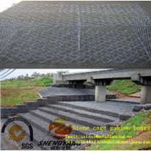 2mx1mx1m réservoir fondation galvanisé rock paniers protection mur anti corrosion acier fil tissé cages en pierre gabion boîtes