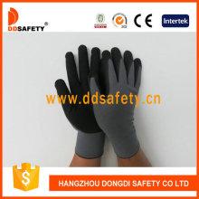 Grau Nylon Schwarz Nitril Handschuh Dnn153