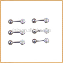 2014 Hot colorful crystal head barbell style charm stud earring