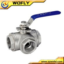 "1/2""Stainless steel 3 way ball valve"