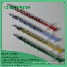 1ml Disposable Colored Syringe, 1ml Luer Slip Syringe Without Needle