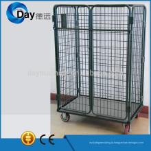 Carrinho de cesta de lavanderia de aço HM-8A com 2 portas, sem tampa, sem ripa, urso 500kgs