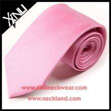 100% tissé à la main en soie Jacquard tissé affaires maigre cravate rose
