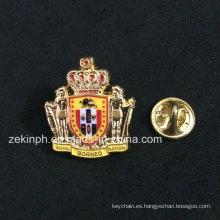 La insignia del Pin del recuerdo de la corona del metal 3D con el esmalte suave