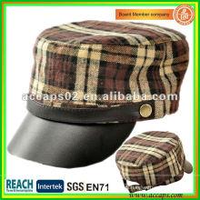 Casquillo de cuero negro del estilo militar MC-1287