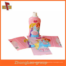 Customized PVC shrink sleeve plastic bottle label printing for bath cream with high transparency