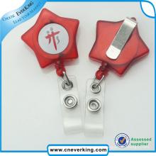 Presente plástico da promoção do carretel do emblema da forma da estrela da correia dos Pvs