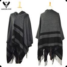 Fashion Big Size Stripe Blanket Shawl with Fringes