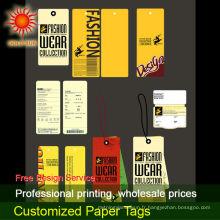 étiquettes volantes en papier pour vêtements