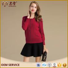 Logos personalizados Short Stly cremallera O-cuello más tamaño suéter femenino con por encargo