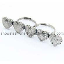 Anillo de dedo / Anillo de dos dedos de aleación plateada Anillo / Joyas de moda (XRG12066)