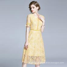 Lace Dress Women 2020 Summer Hollowed Waist Slimming Small Elegant Lady Fairy Skirt