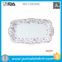 Creative Pefect Gift Roses Formal Rectangular Ceramic Serving Tray