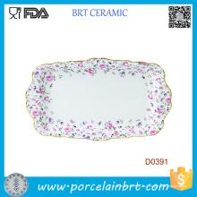 Bandeja de servir cerâmica retangular Formal Criativa Pefect Gift Roses