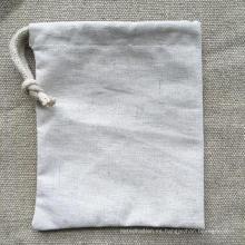 Mini reusale natural bolsa al por mayor de cáñamo cordón con una cuerda