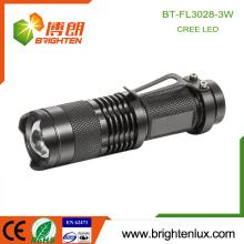 2015 Meilleure vente d'urgence Usage extérieur Pocket Mini Tactical Zoomable Dry Battery 3W Cree Randonnée électrique légère torche avec clip