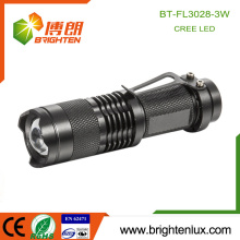 2015 Best Sale Emergency Outdoor Usage Pocket Mini Tactical Zoomable Dry Battery 3W Cree Hiking power light led torch with clip