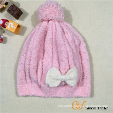 Knitted Fashion Beanie Baby Hat With Pretty Bow