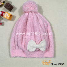 Knitted Pink Warm Hat with Top Ball for Girls