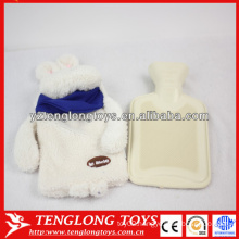 Popular design soft rabbit shaped plush cover for hot water bag