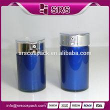30ml 50ml Forma redonda Botella de crema Airless para la fundación cosmética y la botella plástica Botellas de acrílico azules Cosméticos Empaquetado