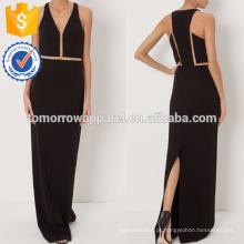 Nova Moda Preto Com Decote Em V Sem Mangas Vestido Vestido Fabricação Atacado Moda Feminina Vestuário (TA5270D)