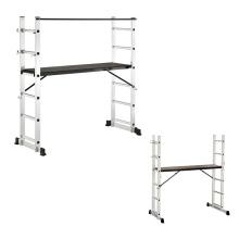 EN131 Aluminium Folding Scaffolding Step Ladders with functional wheels