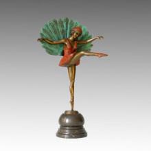 Tänzer-Statue Peafowl-Dame Bronze-Skulptur, Michel Pellier TPE-354