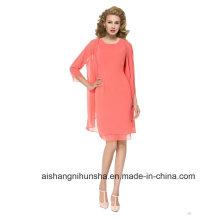Mulheres Chiffon Plus Size 3/4 Mangas Evening Dress Prom Dress