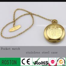 Relógio de Bolso em Aço Inoxidável Dourado com 30m