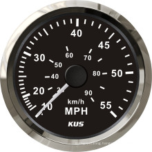 Speedometer Gauges 85mm Speedometer 0-55mph Black Faceplate 316 Stainless Steel Bezel for The Boat Yacht Marine