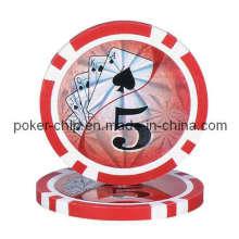 Chip de póker clásico de la arcilla de la raya clásica 14G con la etiqueta engomada del laser
