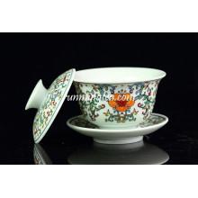 Famille Rose Porcelain Gaiwan Tea Cups