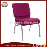 Wholesale cheap cover fabric padded interlocking used stackable church chairs for sale