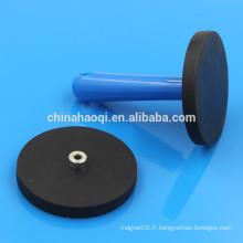 D66mm N35 noir en néodyme magnétique en caoutchouc revêtu