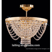 Decorative crystal antique chandelier bronze ceiling lamp for living room